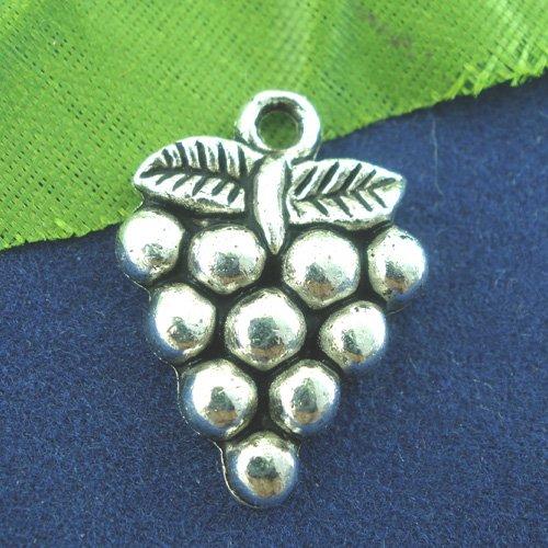 X 5 breloques metal raisin argent vieilli 19mm x 14mm