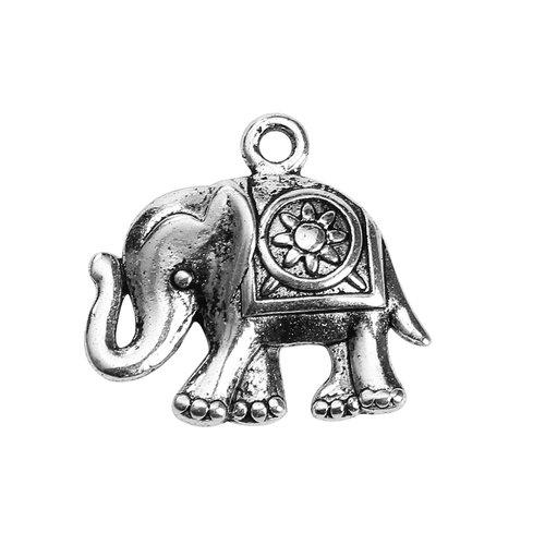 X 3 breloques metal éléphant argent vieilli 24mm x 22mm