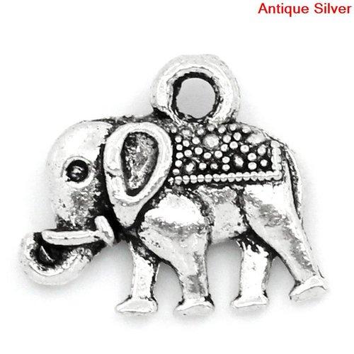 X 5 breloques éléphant argent vieilli  14mm x 12mm
