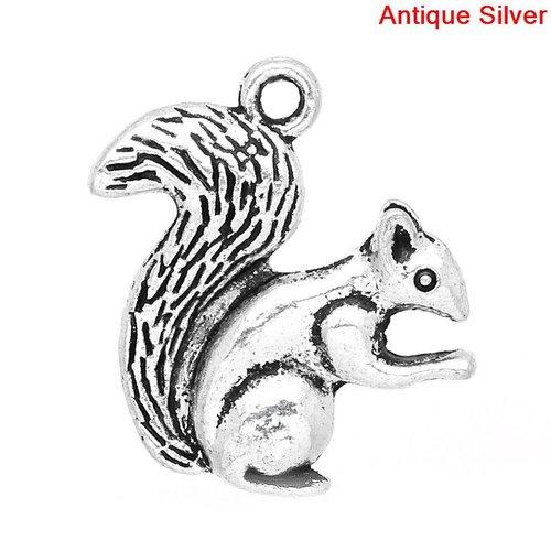 3 breloques écureuil métal argenté vieilli 21mm x 21mm