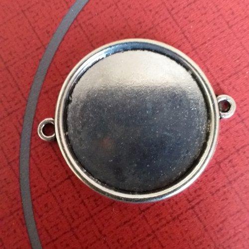 X 1 support cabochon metal argenté plateau 30 mm