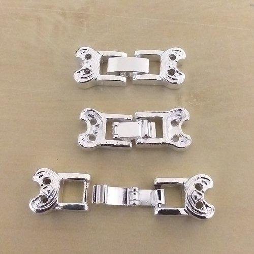 X 3 fermoirs 2 rangs clip metal argenté