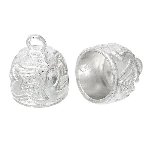 X 3 embouts cloche metal argenté pour gros cordons ou pompons
