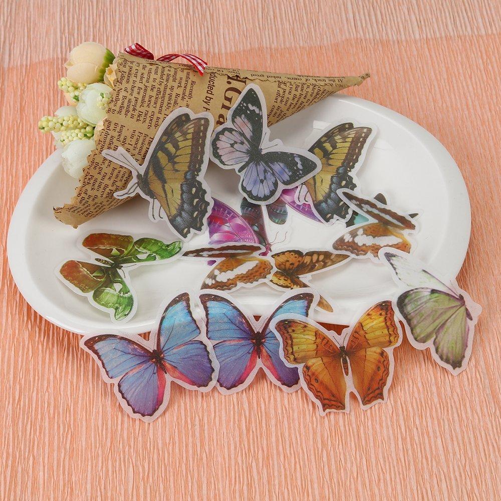 x 1 DIY Papier Autocollant Décoration en Papier Mixte Papillon 6cm x 5.5cm - 3cm x 3cm, 1 Paquet (60 Pcs/Paquet)