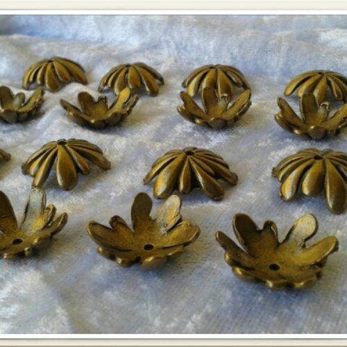 X 10 coupelles bronze pour grosse perle d'environ 20mm