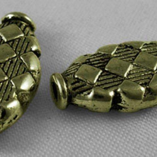 X 5 perles ovale, sans plomb,nickel,cadmium , bronze antique, 17x9x3.5mm, trou: 2mm