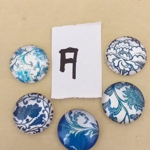 6 lots de 5 cabochons verre fleurs,arabesque ton bleu 20mm