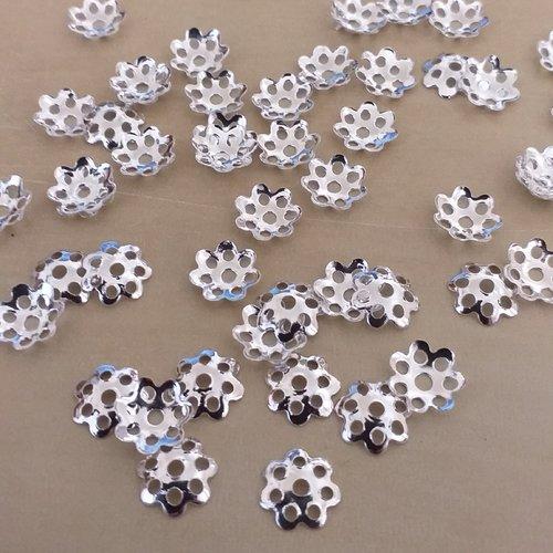 X 20 coupelles fleur métal argenté 8mm