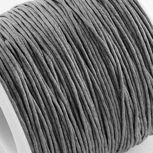 (x5metres) cordon coton ciré 1mm diam.gris