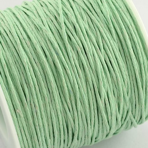 (x5metres) cordon coton ciré 1mm diam.vert