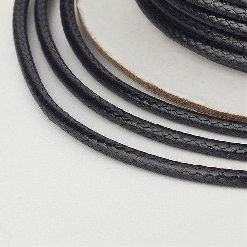 (x 5 mètres) cordon ciré polyester coréen 2mm noir