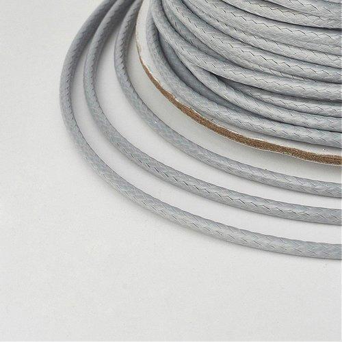 (x 5 mètres) cordon ciré polyester coréen 2mm gris clair