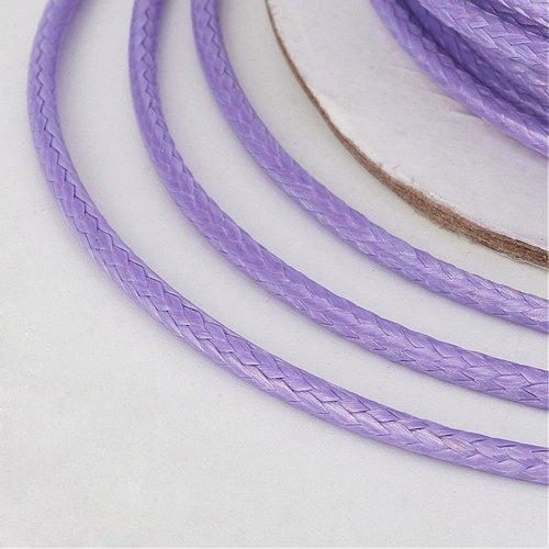 (x 5 mètres) cordon ciré polyester coréen 2mm lilas