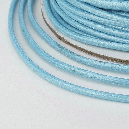 (x 5 mètres) cordon ciré polyester coréen 2mm bleu clair ciel