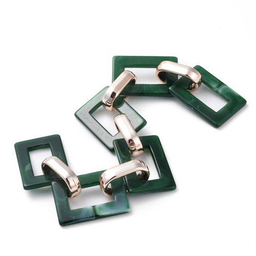 X 1 mètre chaines rectangulaires vert en acrylique, avec bague en plastique plaqué or rose dim :  25.5x17.5x2.5 mm et 18.5x11.5x4.5 mm