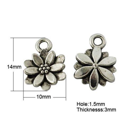X 10 breloques pendentifs tibétain fleurs , sans plomb, argent antique, 14x10x3mm, trou: 1.5mm