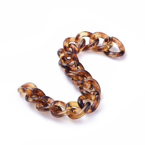 X 1 mètre chaines gourmettes léopard en acrylique opaque torsadée ovale: 30x21x6 mm;