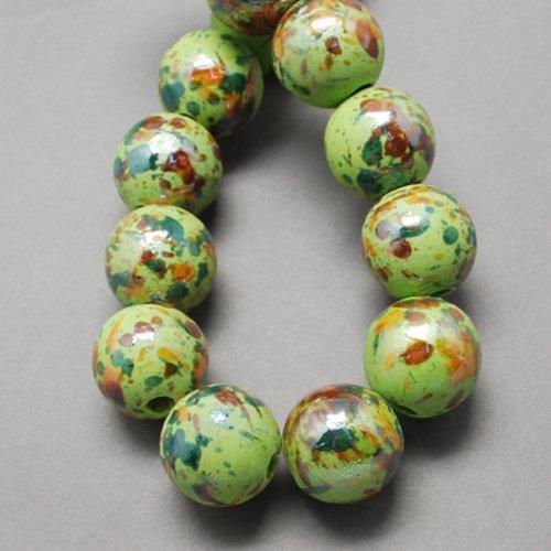 X 1 perles en porcelaine, nacré, ronde, chartreuse , 20mm, trou: 5mm