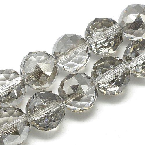 X 1 perles en verre facette, ronde, gris clair, 19x20mm, trou: 2 mm