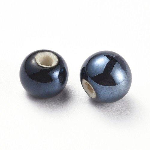 X 5 perles en porcelaine, nacré, ronde, noir, 14mm, trou: 4mm environ