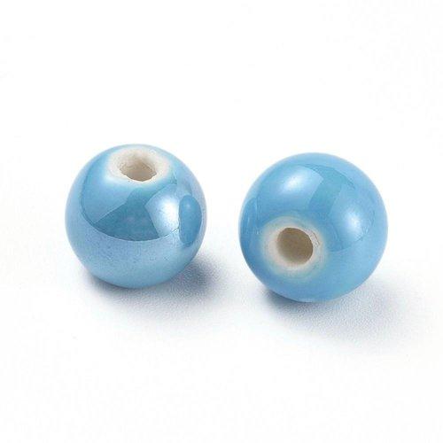 X 5 perles en porcelaine, nacré, ronde, bleu ciel, 14mm, trou: 4mm environ
