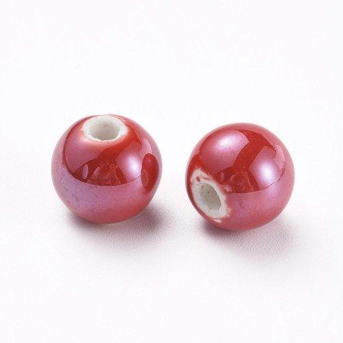 X 5 perles en porcelaine, nacré, ronde, rouge, 14mm, trou: 4mm environ
