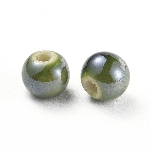 10 perles en porcelaine ronde vert 10mm
