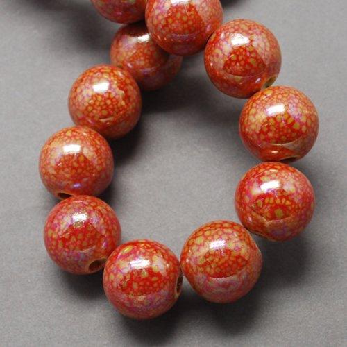 1 perle en porcelaine ronde rouge 20mm