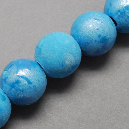 X 1 perles en porcelaine nacré, ronde, bleu turquoise, 20mm, trou: 3mm