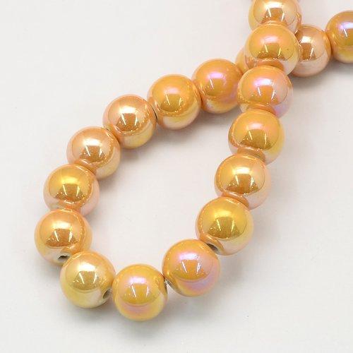 X 1 perles en porcelaine, ronde, or, 20.5mm, trou: 3mm