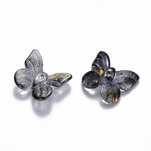 X 10 breloques en verre transparent bicolore a paillettes, papillon, noir, 9.5 x 11 x 3mm,trou: 0.8mm