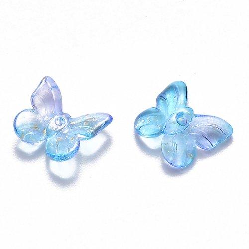 X 10 breloques en verre transparent bicolore a paillettes, papillon,bleu clair, 9.5 x 11 x 3mm,trou: 0.8mm