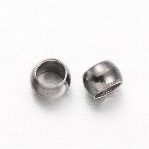 10 gr laiton rondelle perles à écraser, gunmetal, 2.5x1.5mm, trou: 1 mm (env.500 pieces)