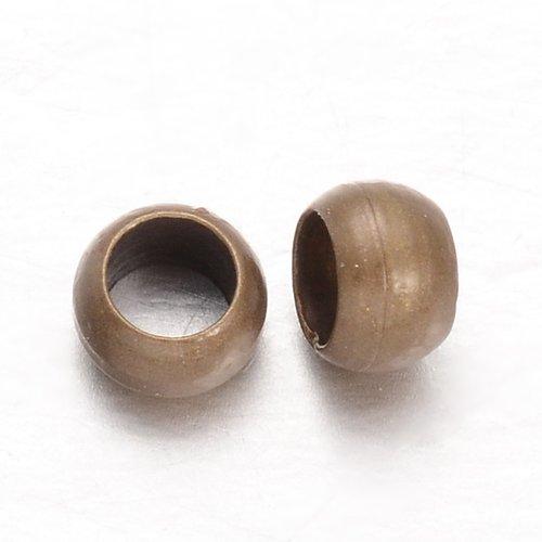 10 gr perles à écraser en laiton , couleur bronze, environ 3 x 2 mm de diamètre, trou: 1.5 mm; environ 500 pcs