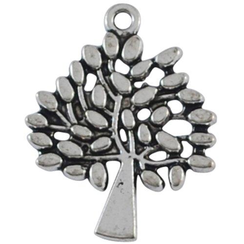 X 5 pendentifs/breloques, arbre de vie, sans plomb, argent antique,29 x 24 mm, trou 2mm