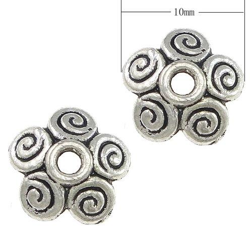 10 coupelles calottes fleur métal argenté 10 x 10 x 2.50mm trou 2mm