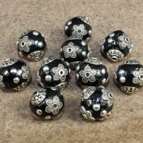 X 3 perles d'indonésie ronde 15 x 14 mm trou 1-2 mm noir