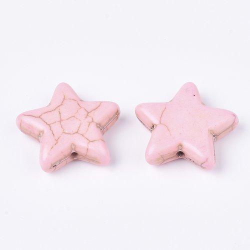 3 perles étoile rose en turquoise 21 x 6mm trou 1.4mm