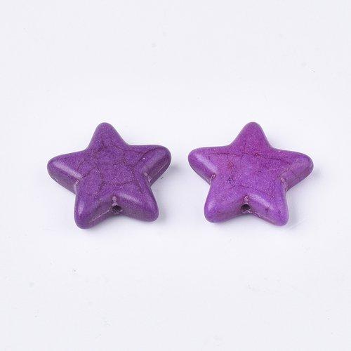 3 perles étoile violet en turquoise 21 x 6mm trou 1.4mm