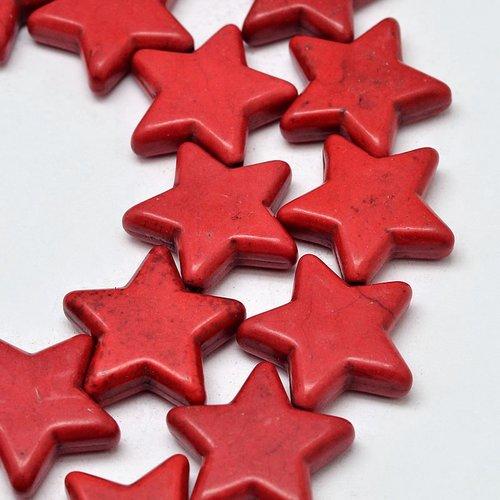 5 perles étoile rouge 12mm