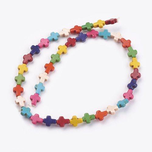 Perles croix couleur mixte 10mm