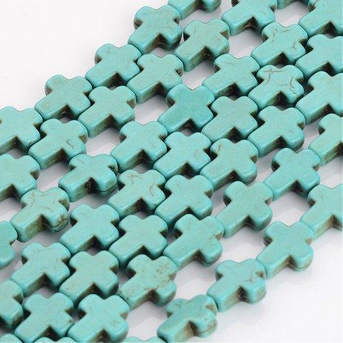 5 perles croix bleu turquoise 10mm