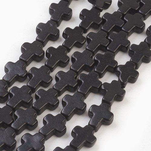 5 perles croix noir 10mm