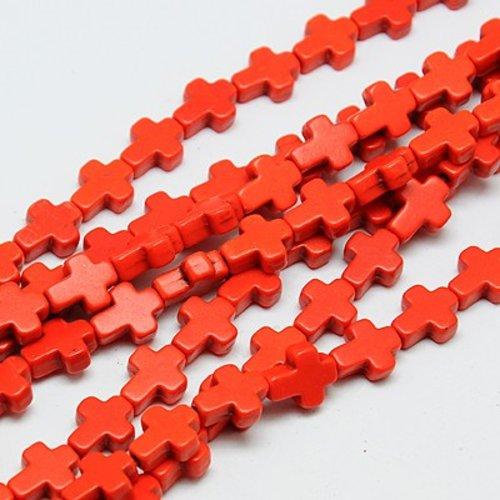 5 perles croix rouge orangé 10mm