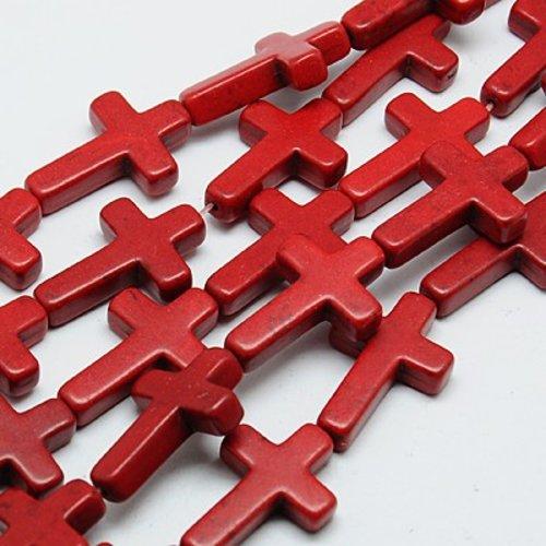 5 perles croix rouge 16mm