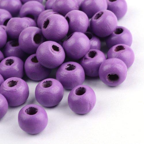 50 perles en bois ronde mauve violet 10mm