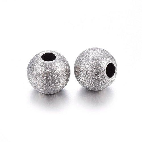 10 perles acier inoxydable ronde 6mm