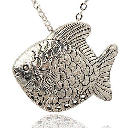 1 connecteur poisson métal argenté antique 38 x 43mm