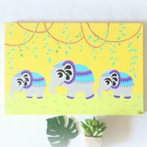 Tableau eléphant, tableau enfant, peinture éléphant, tableau chambre bébé,  déco éléphant chambre d\'enfant