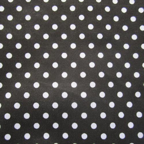 Coupon de tissu noir pois blancs